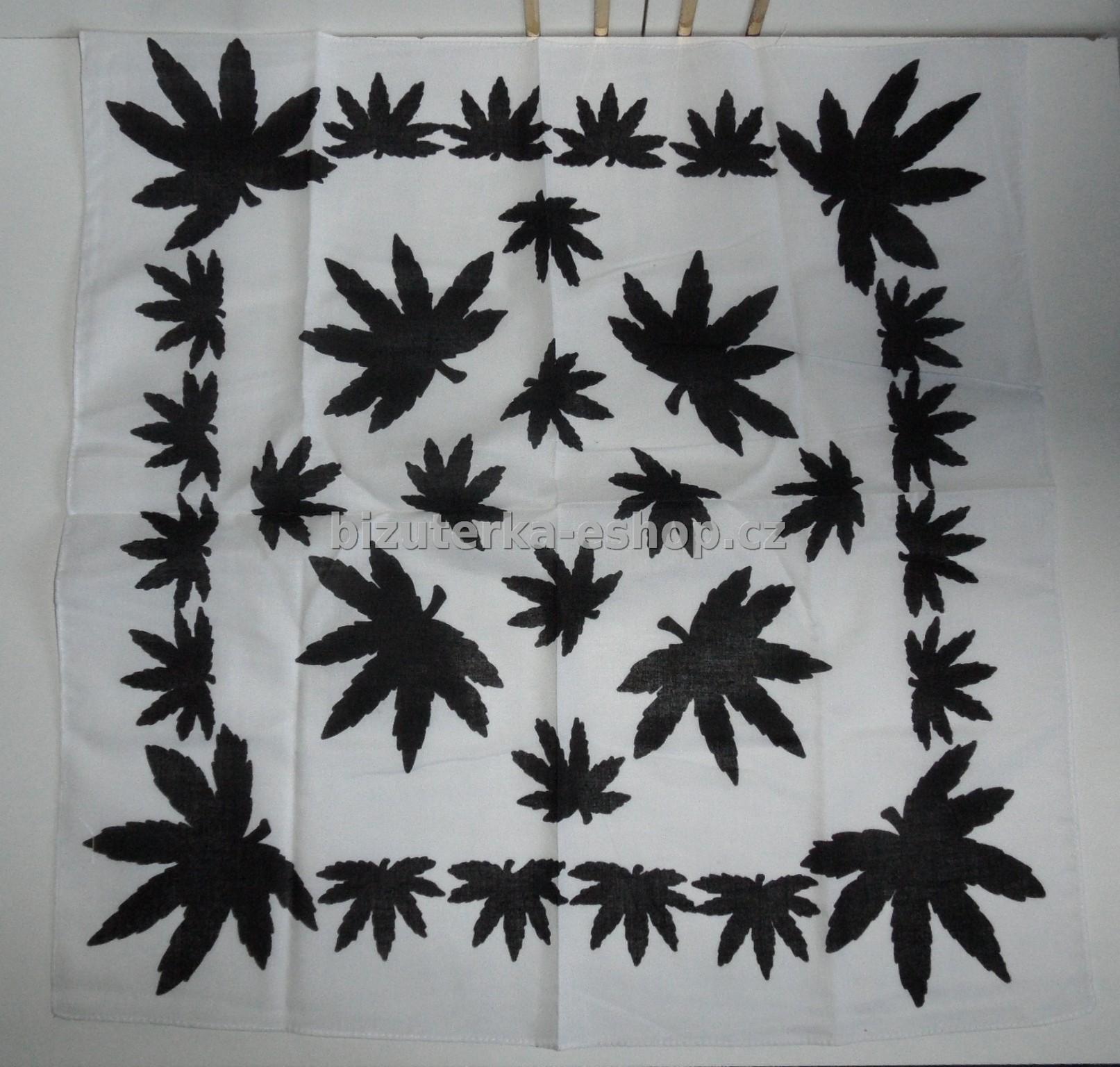 Šátek marihuana bílo černý BZ-03264 7c76e0c3e2