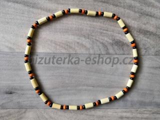 22cfccd2f Dřevěné korálky na krk smetanovo černo oranžové empty