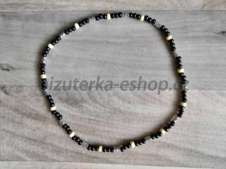 0e2e2758e Dřevěné korálky na krk černo smetanovo stříbrné empty